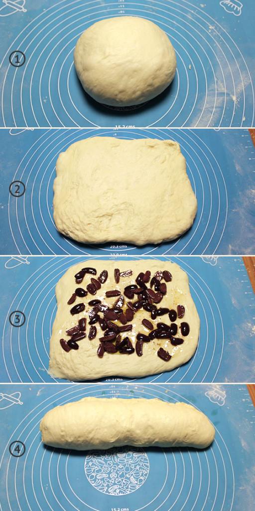 Modelando a massa do pão de azeitona
