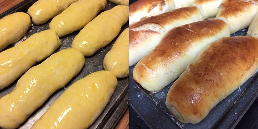 Pão de cachorro-quente antes e depois de assado