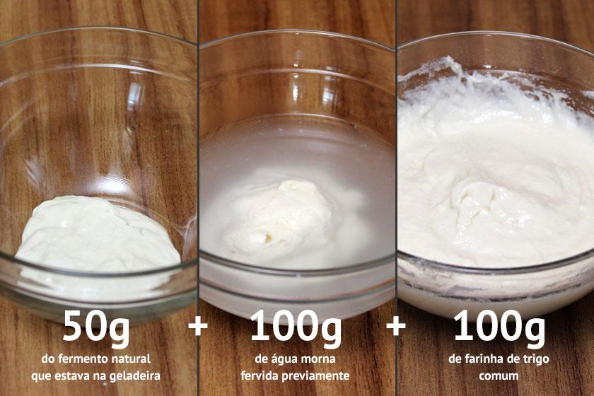 Refrescar o fermento - Proporção para o fermento mais líquido
